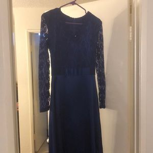 Long sleeve blue dress